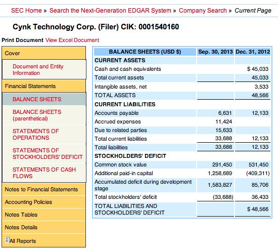 CYNK No Assets